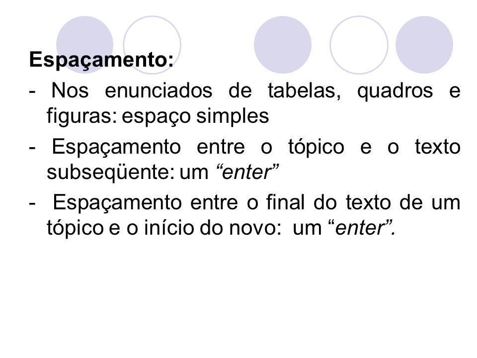 Espaçamento: - Nos enunciados de tabelas, quadros e figuras: espaço simples. - Espaçamento entre o tópico e o texto subseqüente: um enter