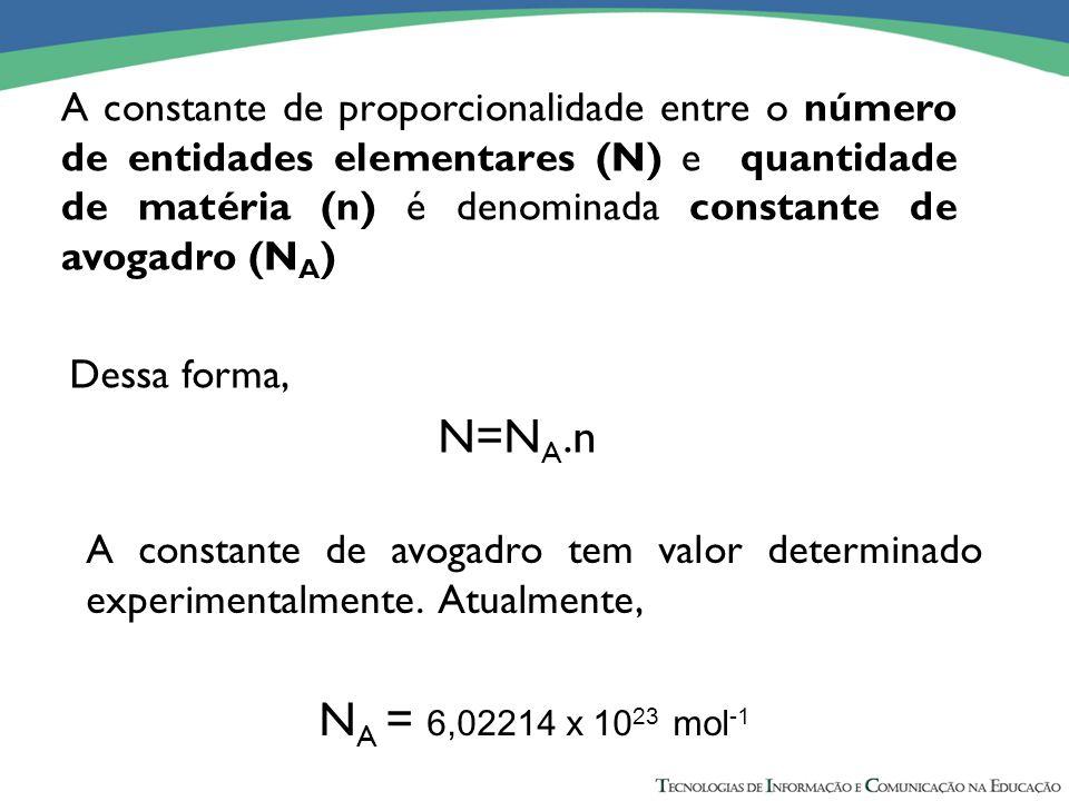 A constante de proporcionalidade entre o número de entidades elementares (N) e quantidade de matéria (n) é denominada constante de avogadro (NA)