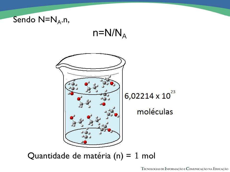 Sendo N=NA.n, n=N/NA Quantidade de matéria (n) = 1 mol