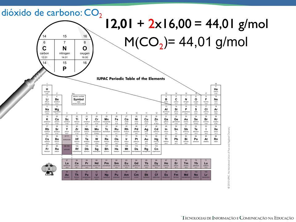 dióxido de carbono: CO2 12,01 + 16,00 = 28,01 g/mol. M(CO)= 28,01 g/mol. 12,01 + 2x16,00 = 44,01 g/mol.