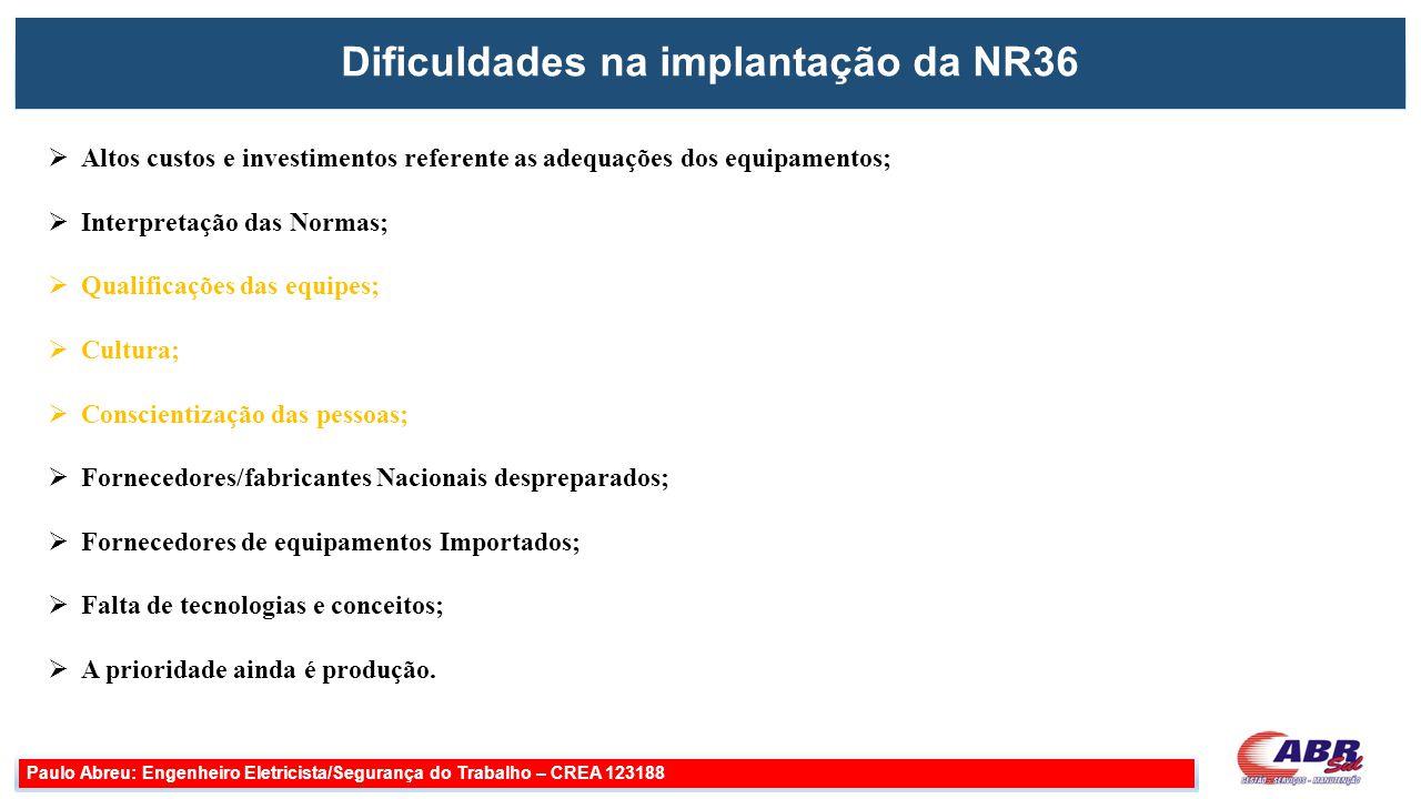 Dificuldades na implantação da NR36