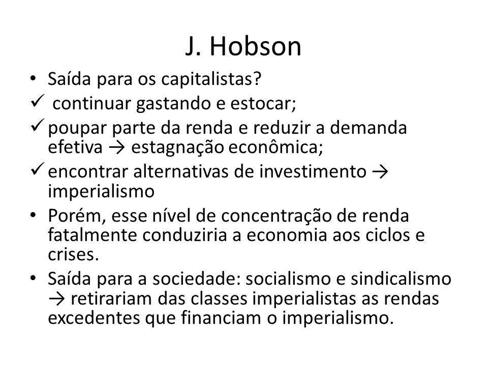 J. Hobson Saída para os capitalistas continuar gastando e estocar;