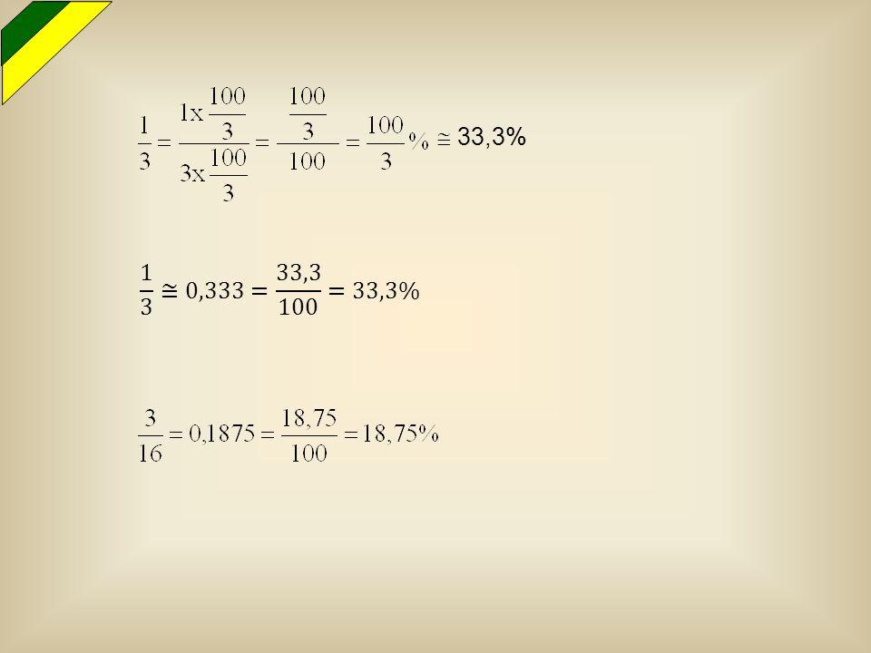  33,3% 1 3 ≅0,333= 33,3 100 =33,3%
