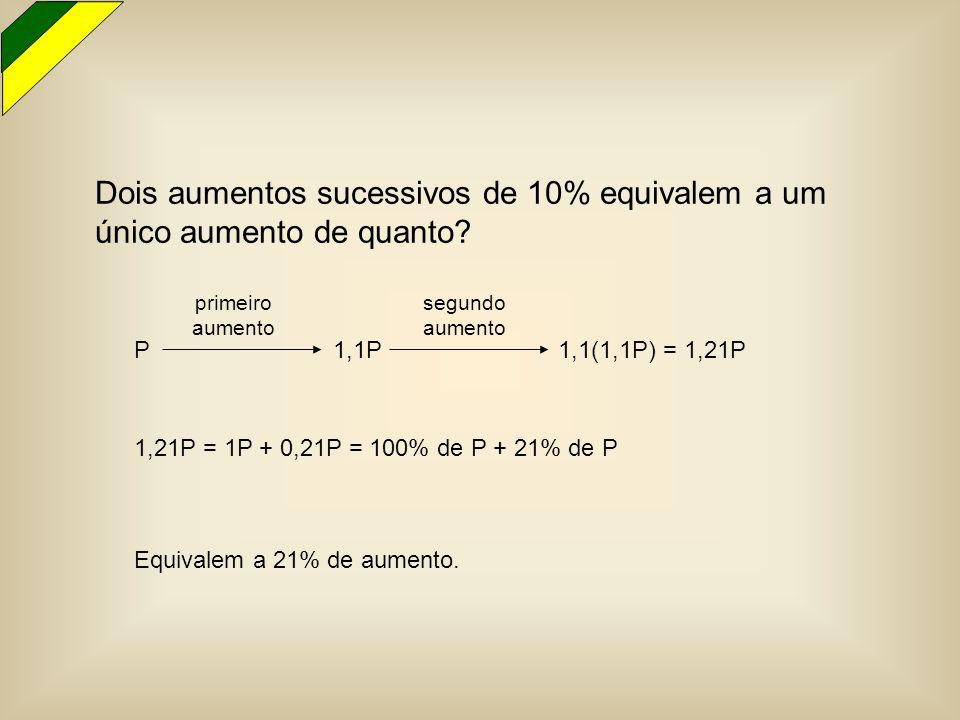 Dois aumentos sucessivos de 10% equivalem a um único aumento de quanto