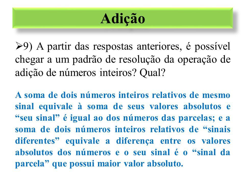 Adição 9) A partir das respostas anteriores, é possível chegar a um padrão de resolução da operação de adição de números inteiros Qual