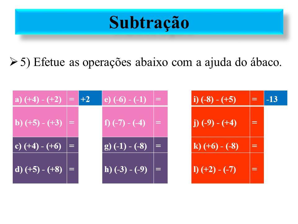 Subtração 5) Efetue as operações abaixo com a ajuda do ábaco.