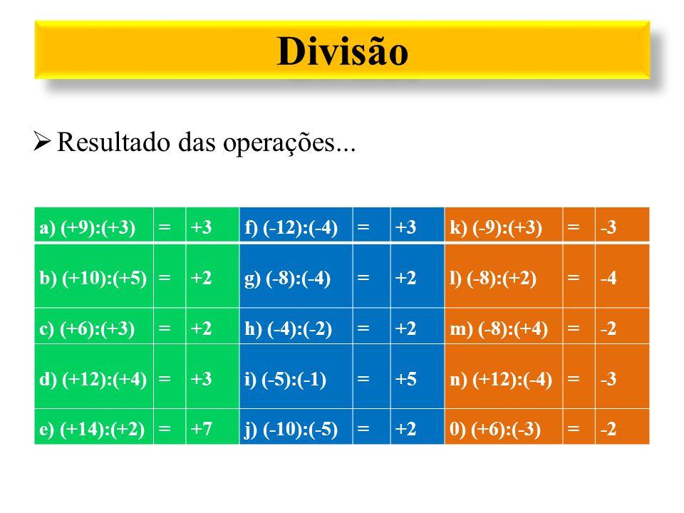 Divisão Resultado das operações... a) (+9):(+3) = +3 f) (-12):(-4)