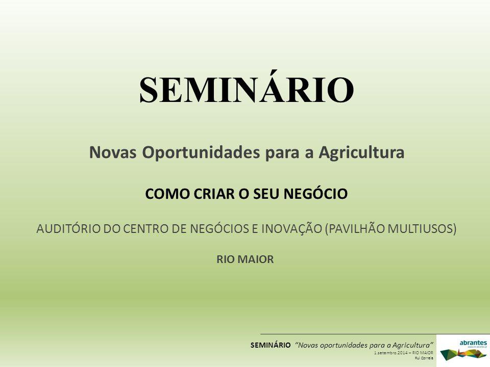 Novas Oportunidades para a Agricultura COMO CRIAR O SEU NEGÓCIO