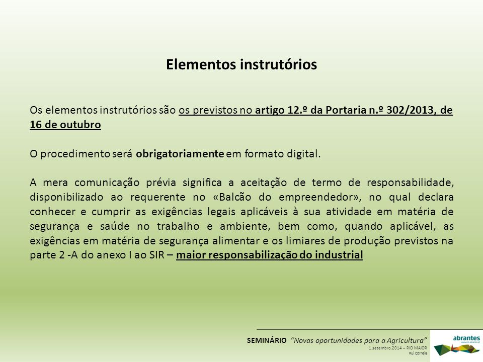 Elementos instrutórios