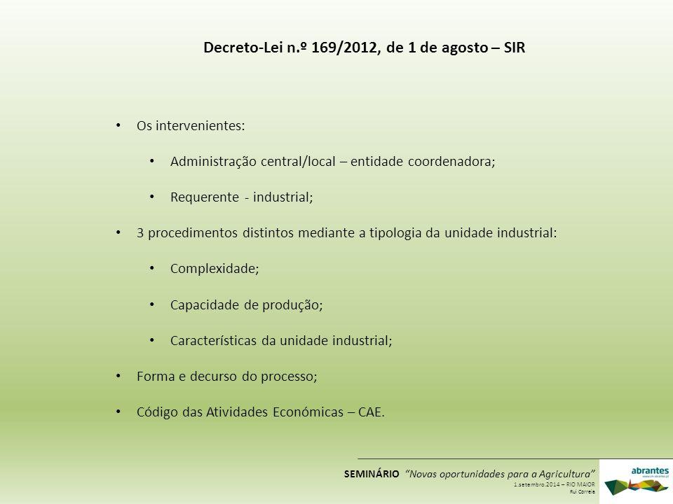 Decreto-Lei n.º 169/2012, de 1 de agosto – SIR