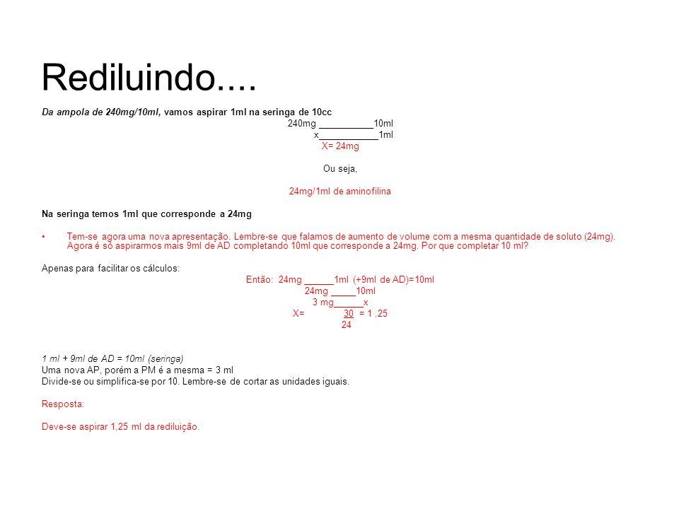 Então: 24mg ______1ml (+9ml de AD)=10ml