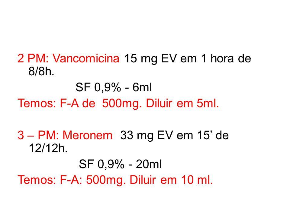 2 PM: Vancomicina 15 mg EV em 1 hora de 8/8h