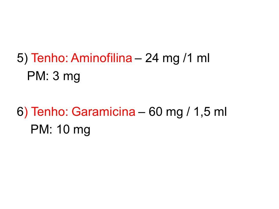 5) Tenho: Aminofilina – 24 mg /1 ml