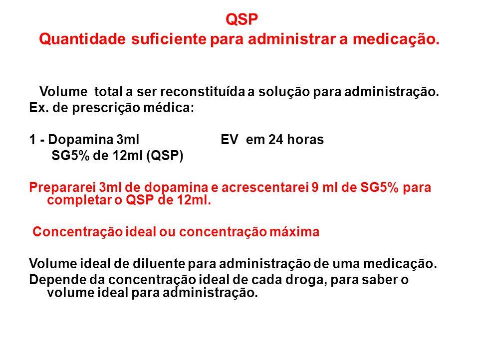 QSP Quantidade suficiente para administrar a medicação.