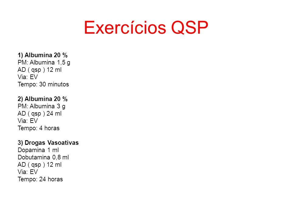Exercícios QSP 1) Albumina 20 % PM: Albumina 1,5 g AD ( qsp ) 12 ml