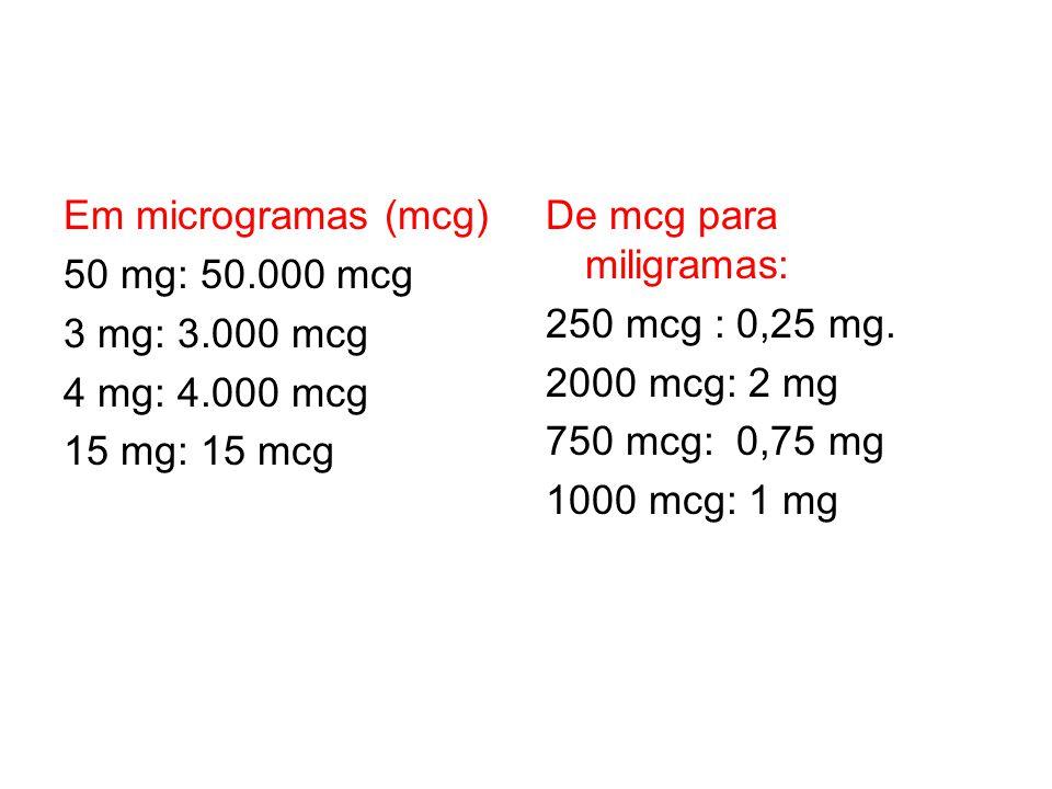 Em microgramas (mcg) 50 mg: 50. 000 mcg 3 mg: 3. 000 mcg 4 mg: 4