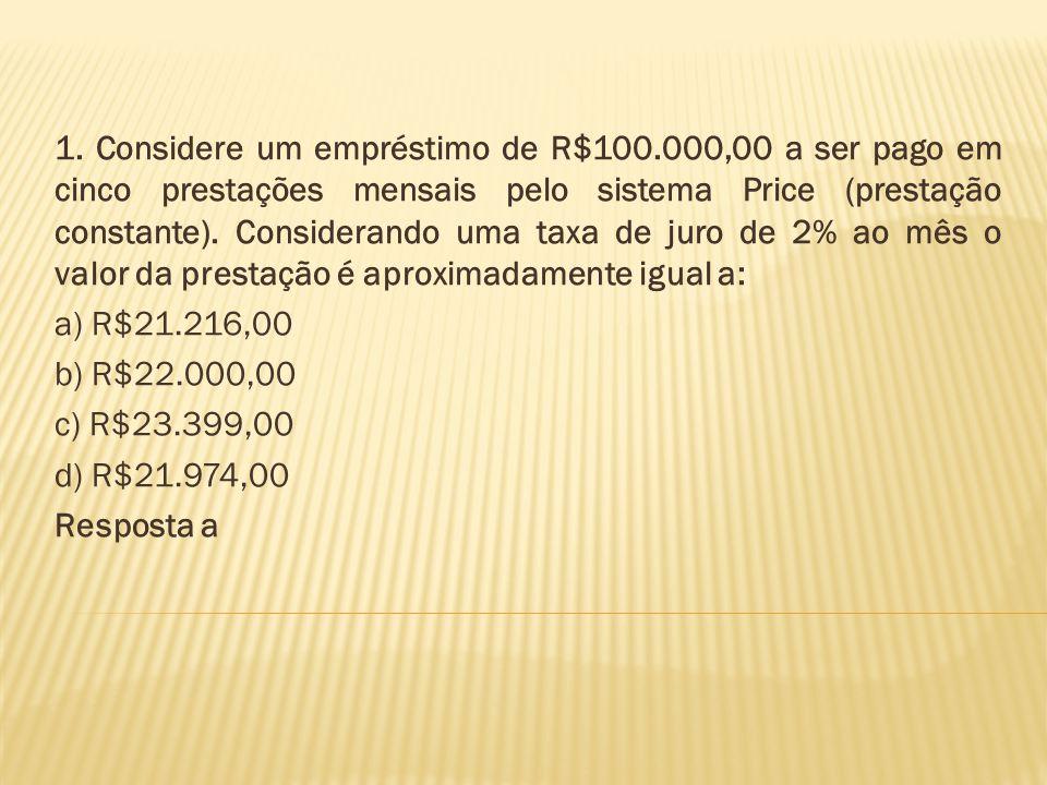 1. Considere um empréstimo de R$100