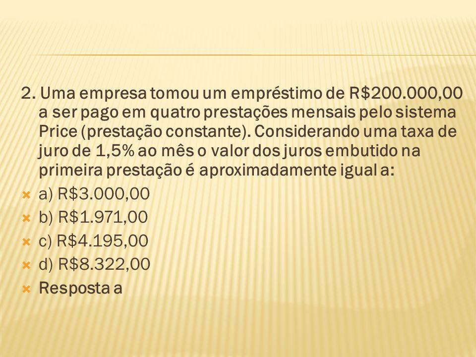2. Uma empresa tomou um empréstimo de R$200