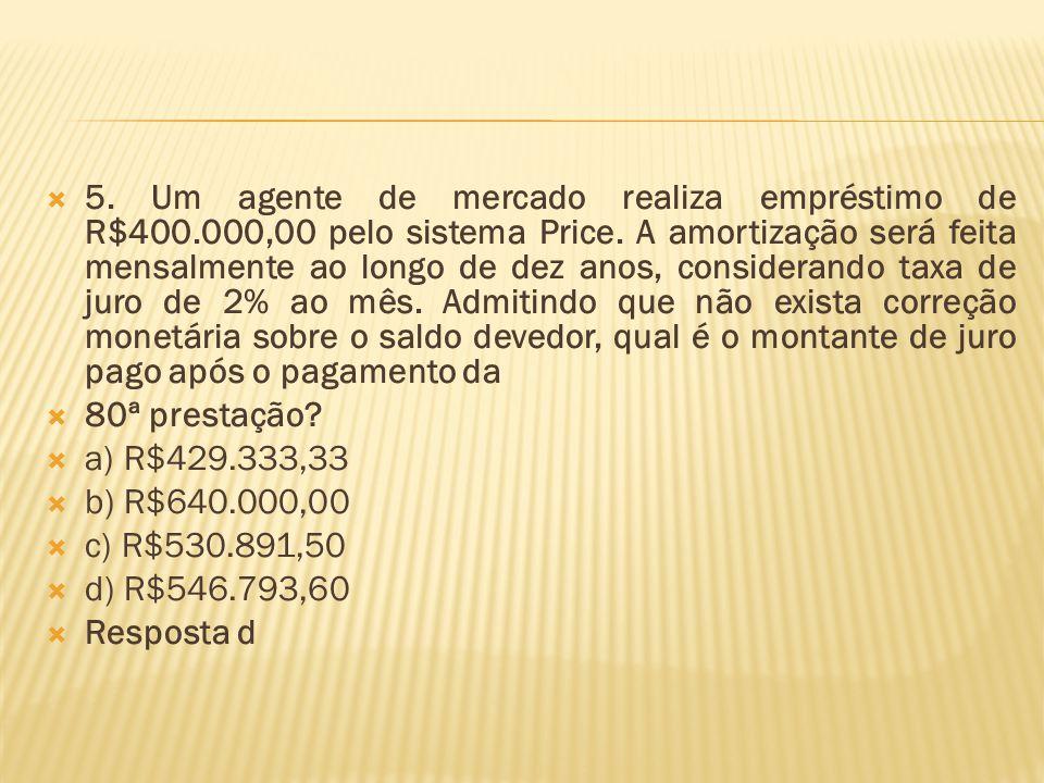 5. Um agente de mercado realiza empréstimo de R$400