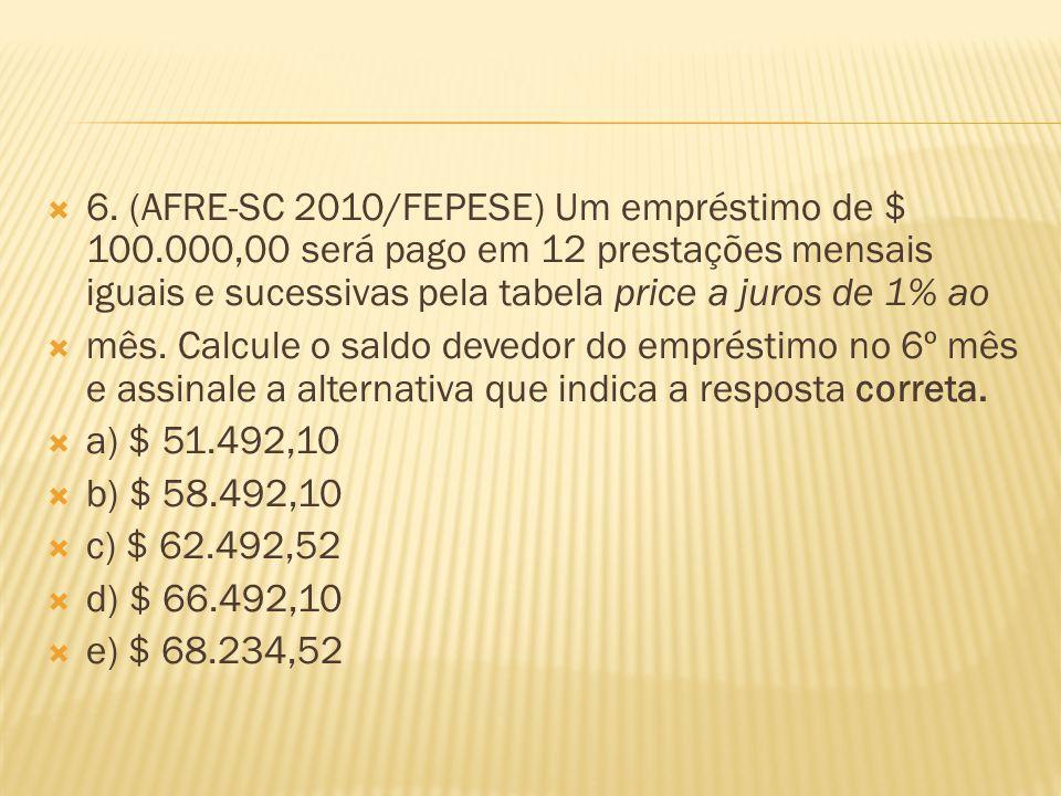 6. (AFRE-SC 2010/FEPESE) Um empréstimo de $ 100