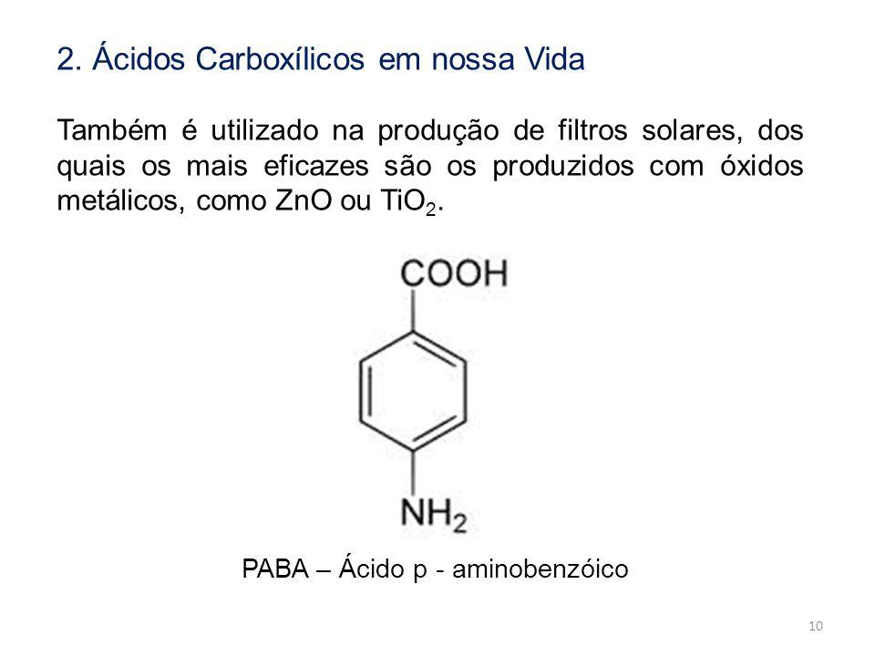 2. Ácidos Carboxílicos em nossa Vida