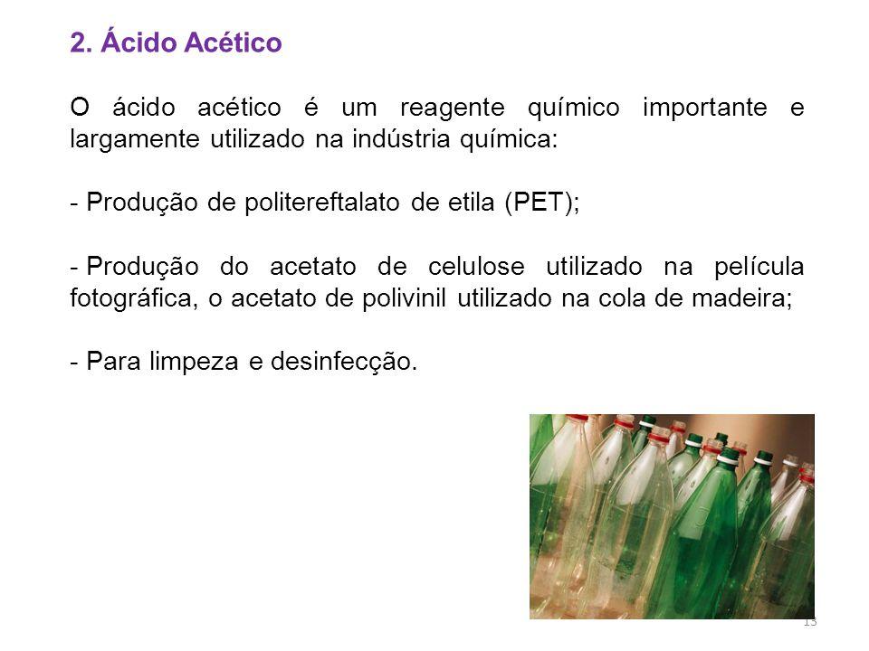 2. Ácido Acético O ácido acético é um reagente químico importante e largamente utilizado na indústria química: