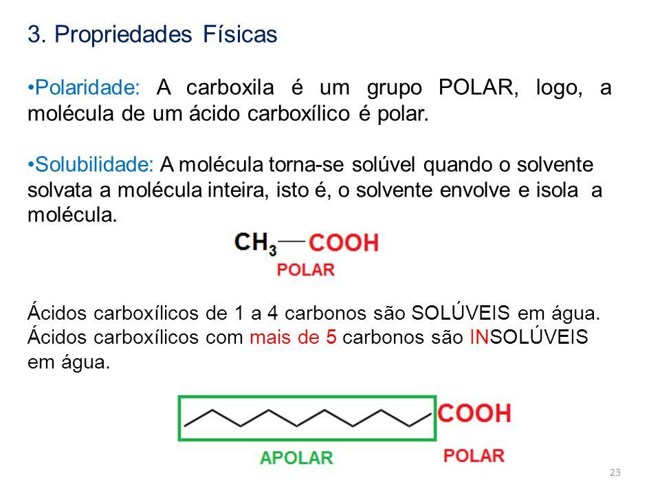3. Propriedades Físicas Polaridade: A carboxila é um grupo POLAR, logo, a molécula de um ácido carboxílico é polar.
