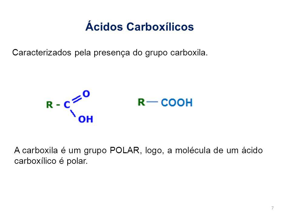 Ácidos Carboxílicos Caracterizados pela presença do grupo carboxila.