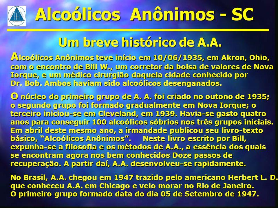 Alcoólicos Anônimos - SC Um breve histórico de A.A.
