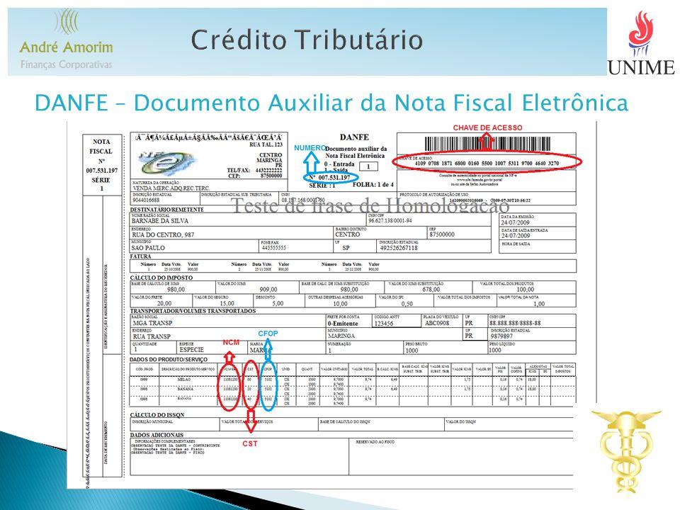 Crédito Tributário DANFE – Documento Auxiliar da Nota Fiscal Eletrônica