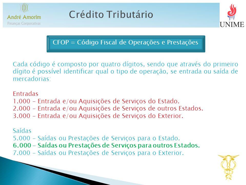 Crédito Tributário CFOP = Código Fiscal de Operações e Prestações