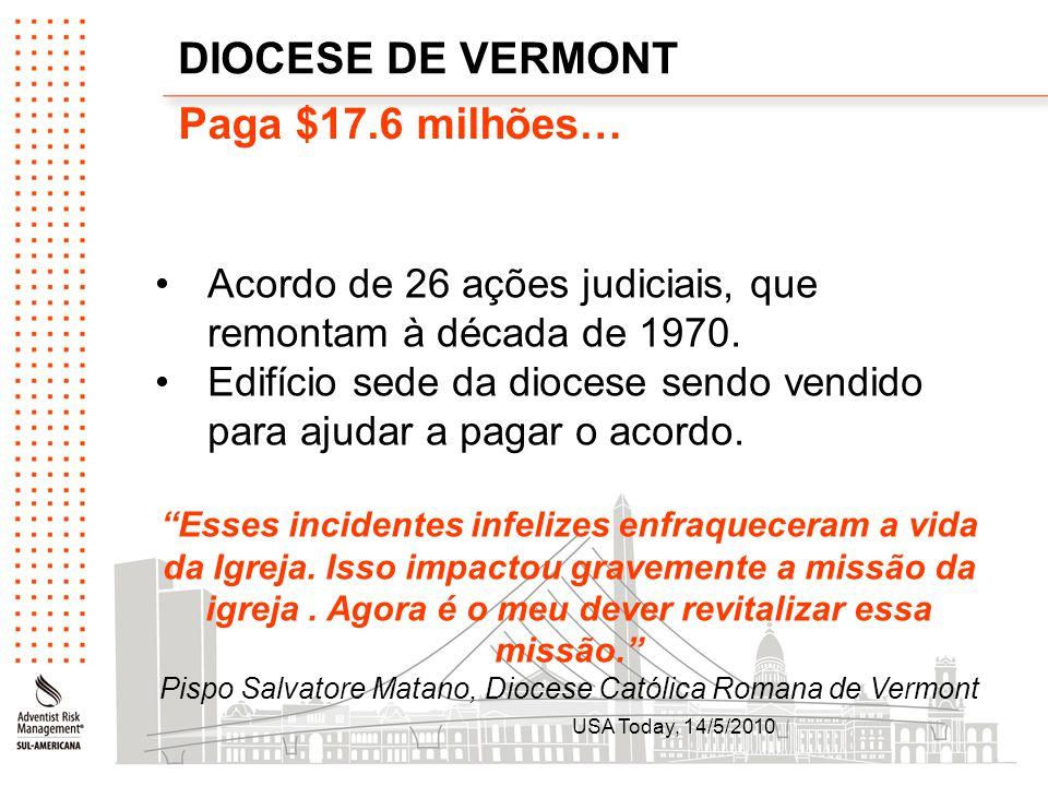 DIOCESE DE VERMONT Paga $17.6 milhões…