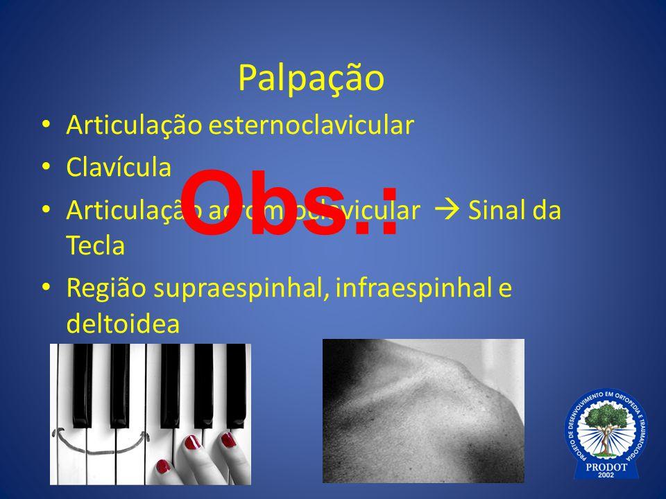 Obs.: Palpação Articulação esternoclavicular Clavícula