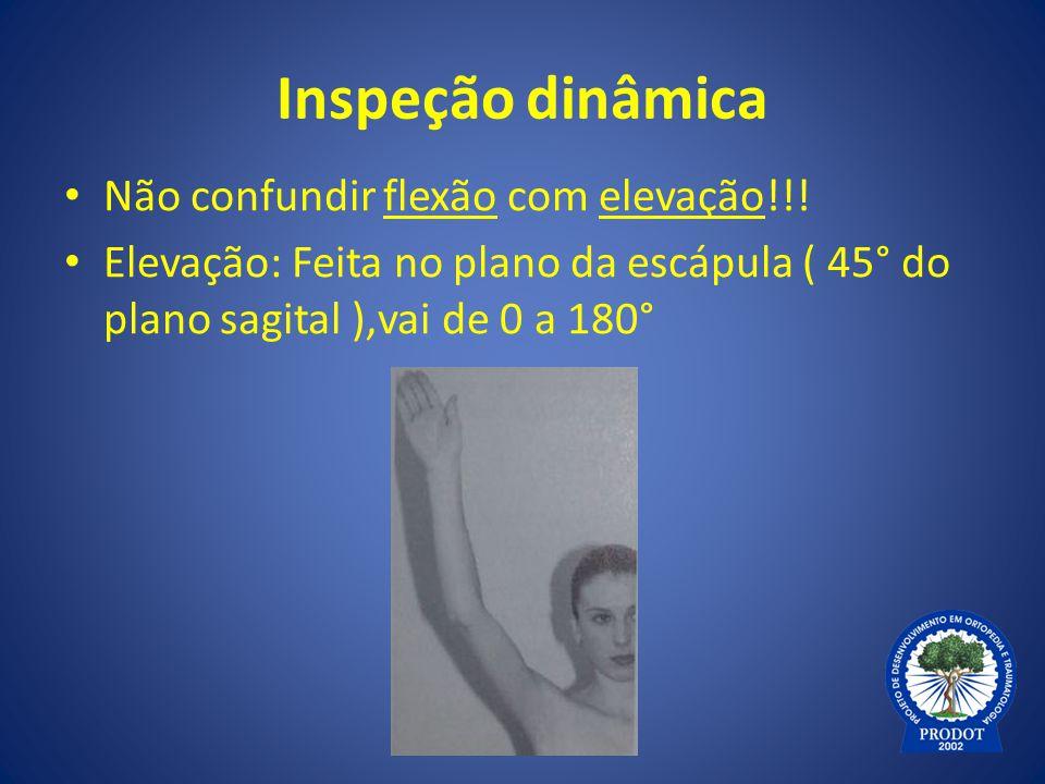 Inspeção dinâmica Não confundir flexão com elevação!!!