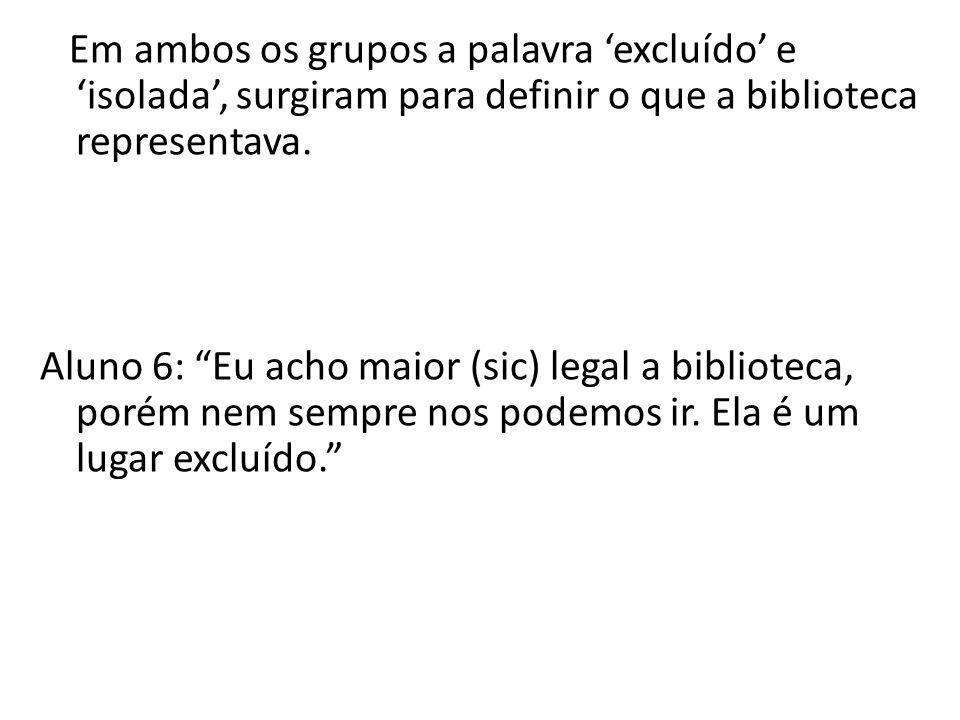 Em ambos os grupos a palavra 'excluído' e 'isolada', surgiram para definir o que a biblioteca representava.