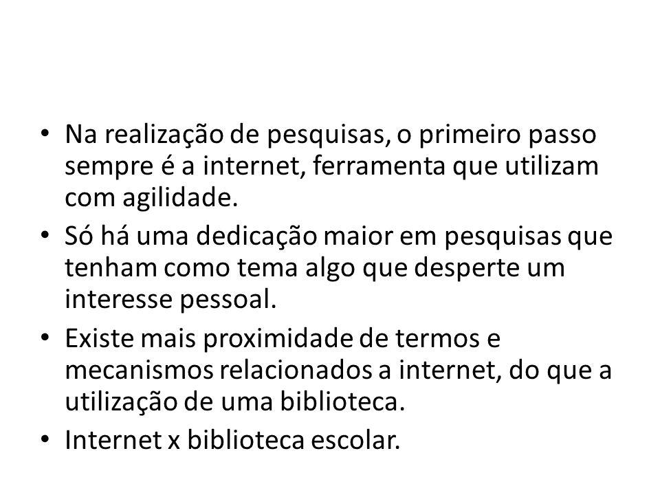 Na realização de pesquisas, o primeiro passo sempre é a internet, ferramenta que utilizam com agilidade.