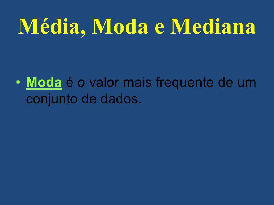 Média, Moda e Mediana Moda é o valor mais frequente de um conjunto de dados.