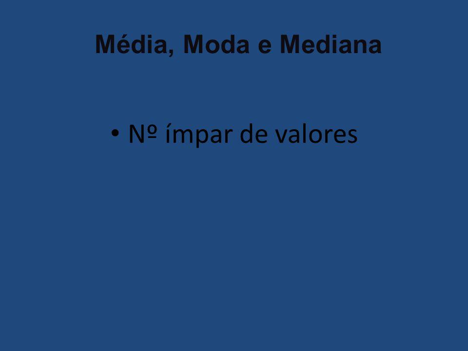 Média, Moda e Mediana Nº ímpar de valores