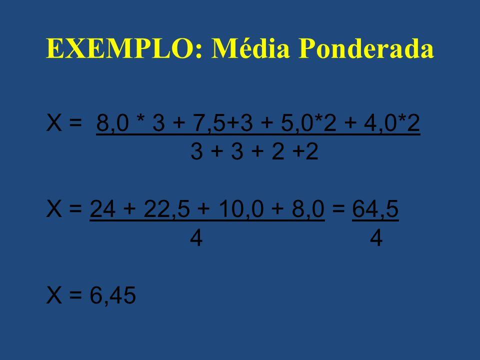 EXEMPLO: Média Ponderada