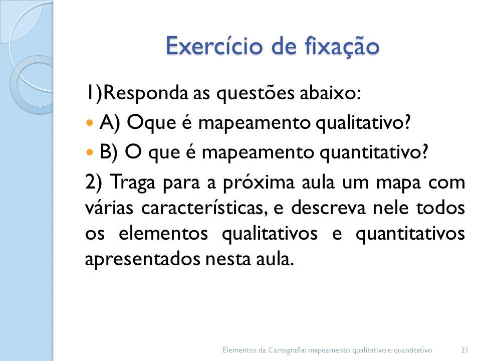 Exercício de fixação 1)Responda as questões abaixo: