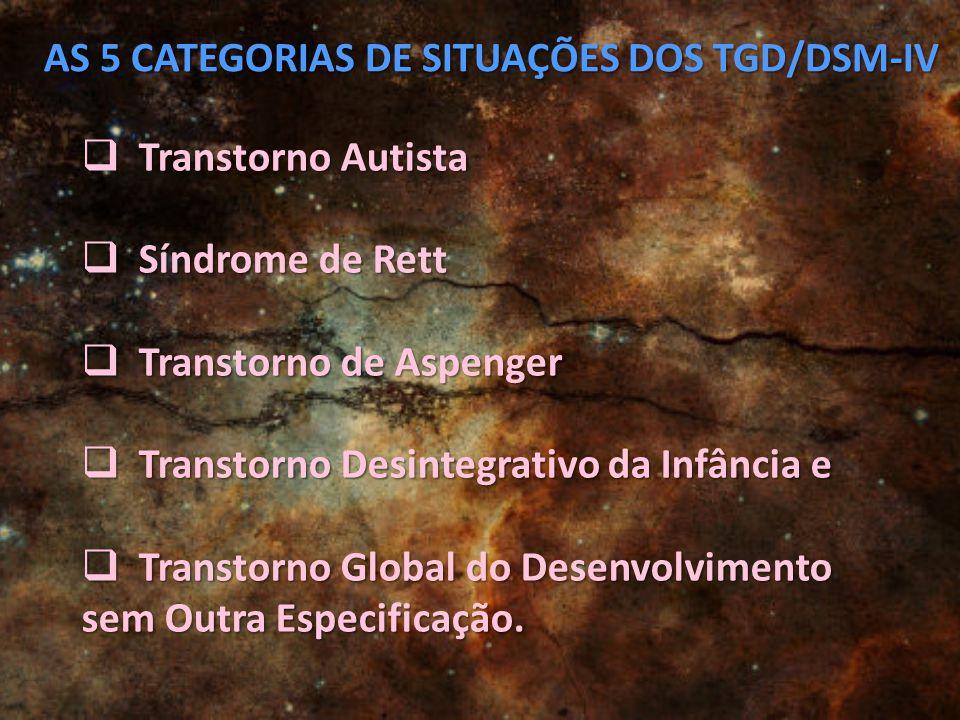 AS 5 CATEGORIAS DE SITUAÇÕES DOS TGD/DSM-IV
