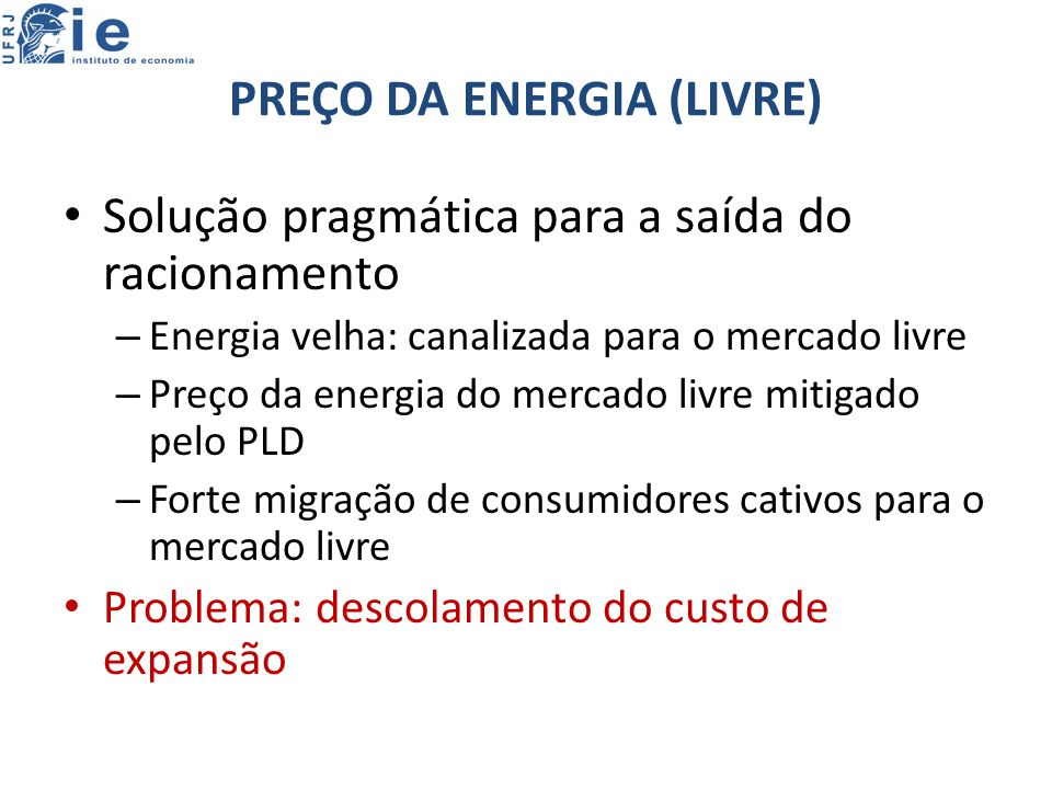 PREÇO DA ENERGIA (LIVRE)