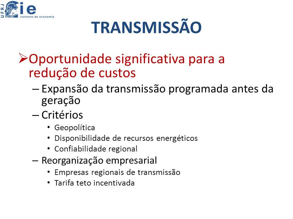 TRANSMISSÃO Oportunidade significativa para a redução de custos