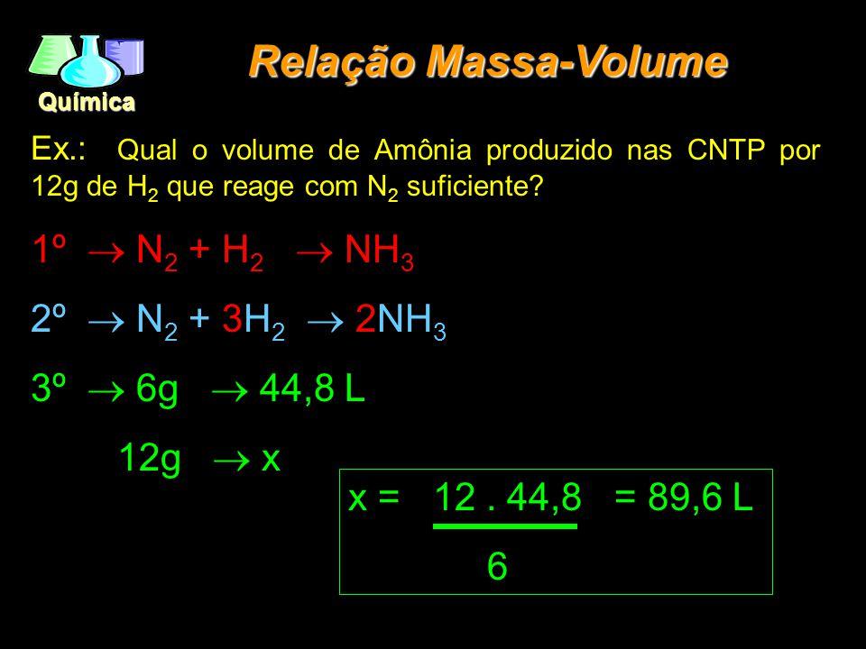 Relação Massa-Volume 1º ® N2 + H2 ® NH3 2º ® N2 + 3H2 ® 2NH3