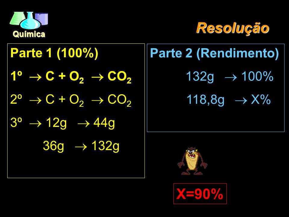 Resolução X=90% Parte 1 (100%) 1º ® C + O2 ® CO2 2º ® C + O2 ® CO2