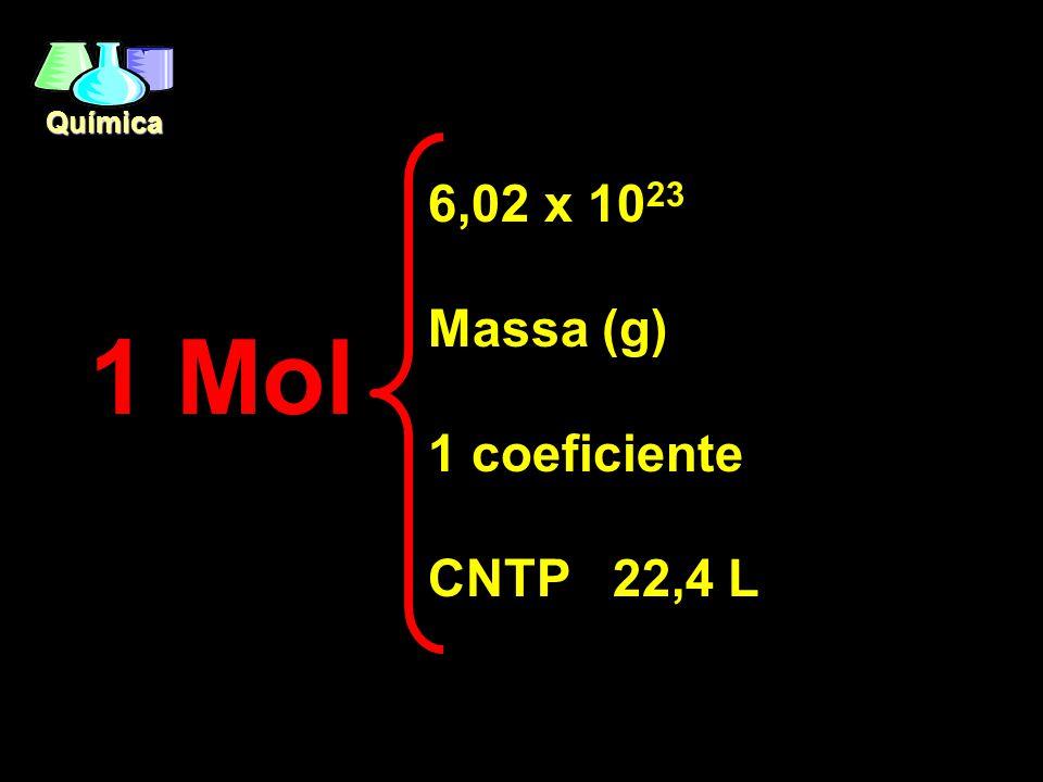 6,02 x 1023 Massa (g) 1 coeficiente CNTP 22,4 L 1 Mol