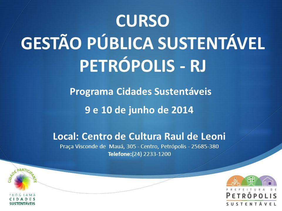 CURSO GESTÃO PÚBLICA SUSTENTÁVEL PETRÓPOLIS - RJ