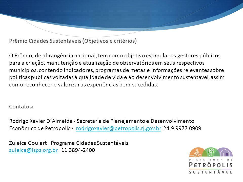 Prêmio Cidades Sustentáveis (Objetivos e critérios)