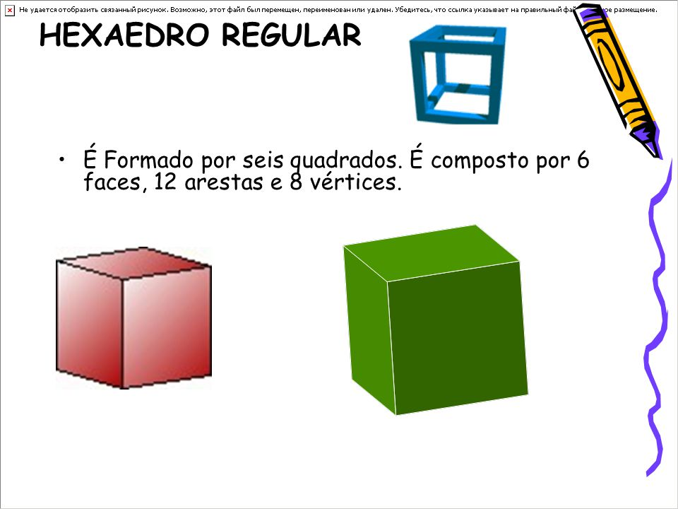 HEXAEDRO REGULAR É Formado por seis quadrados. É composto por 6 faces, 12 arestas e 8 vértices.