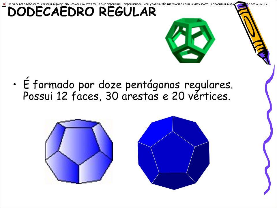 DODECAEDRO REGULAR É formado por doze pentágonos regulares.